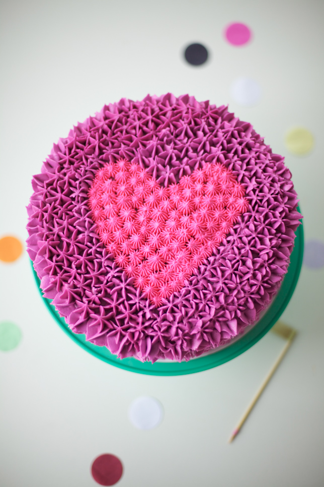 Purple and Pink Heart Cake