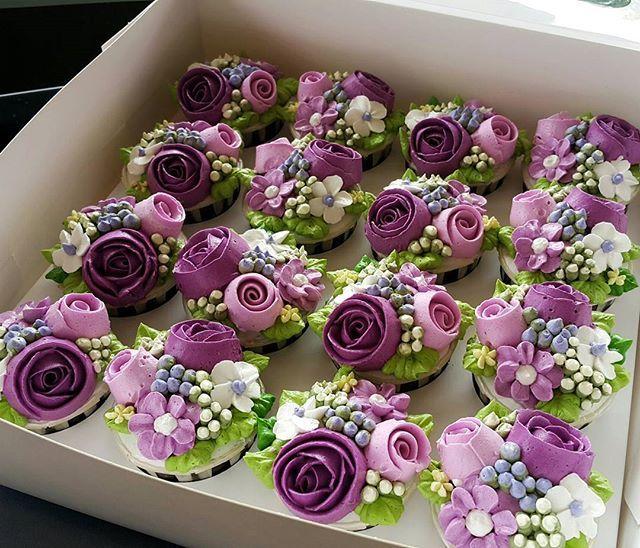 Purple Flower Birthday Cupcakes