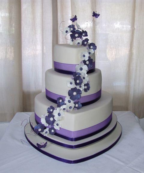 Purple Hearts Wedding Cake