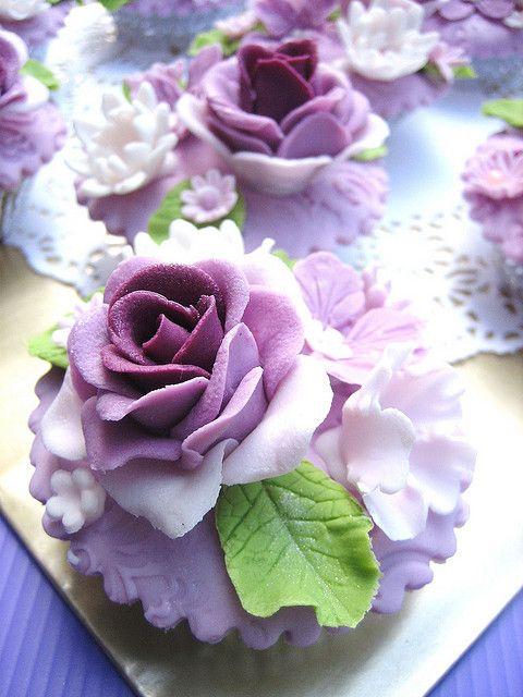 Purple Rose Cupcakes