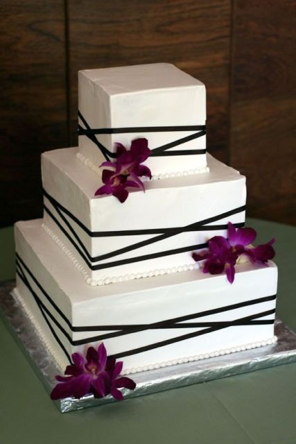 Square Wedding Cakes with Orchids