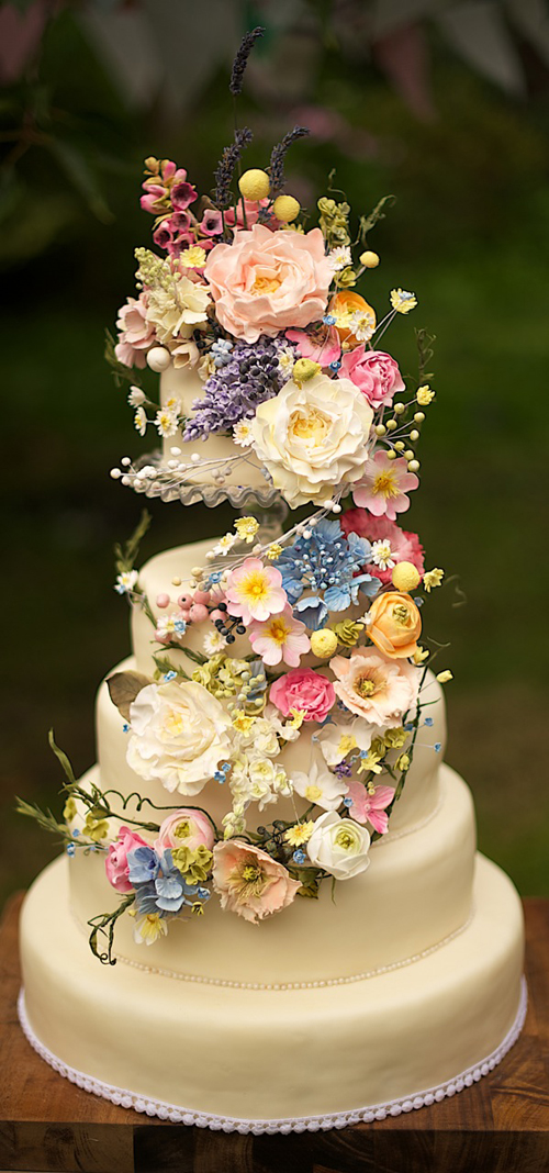 Wedding Cake with Wild Flowers