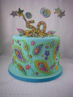 60s Theme Birthday Cake