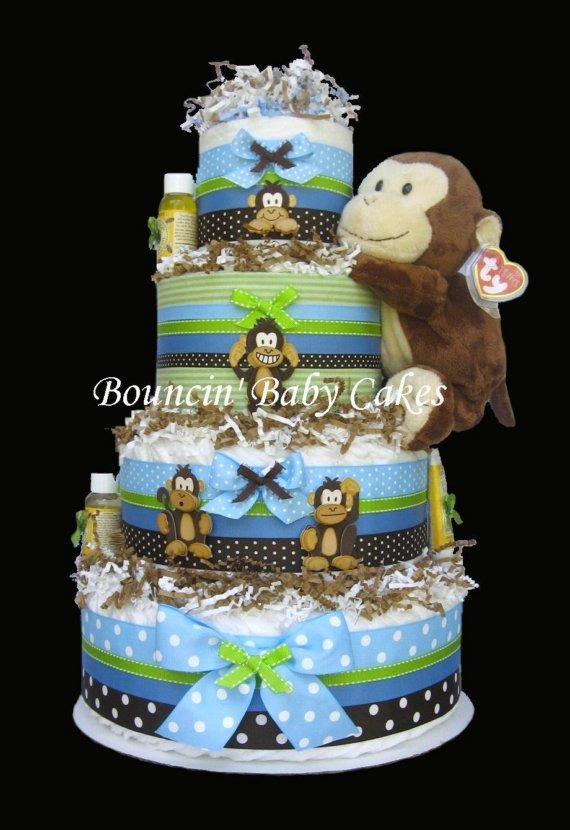 Baby Boy Diaper Cakes Centerpieces