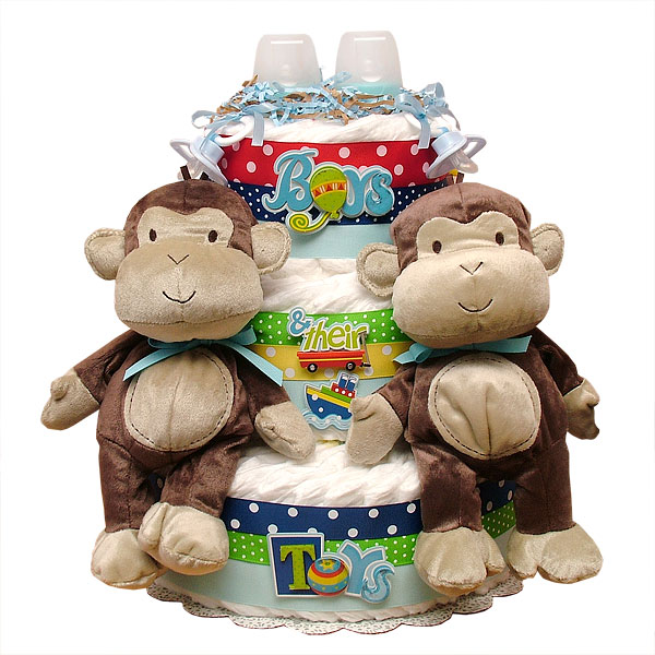 12 Photos of Monkey Baby Shower Diaper Cakes For Twins