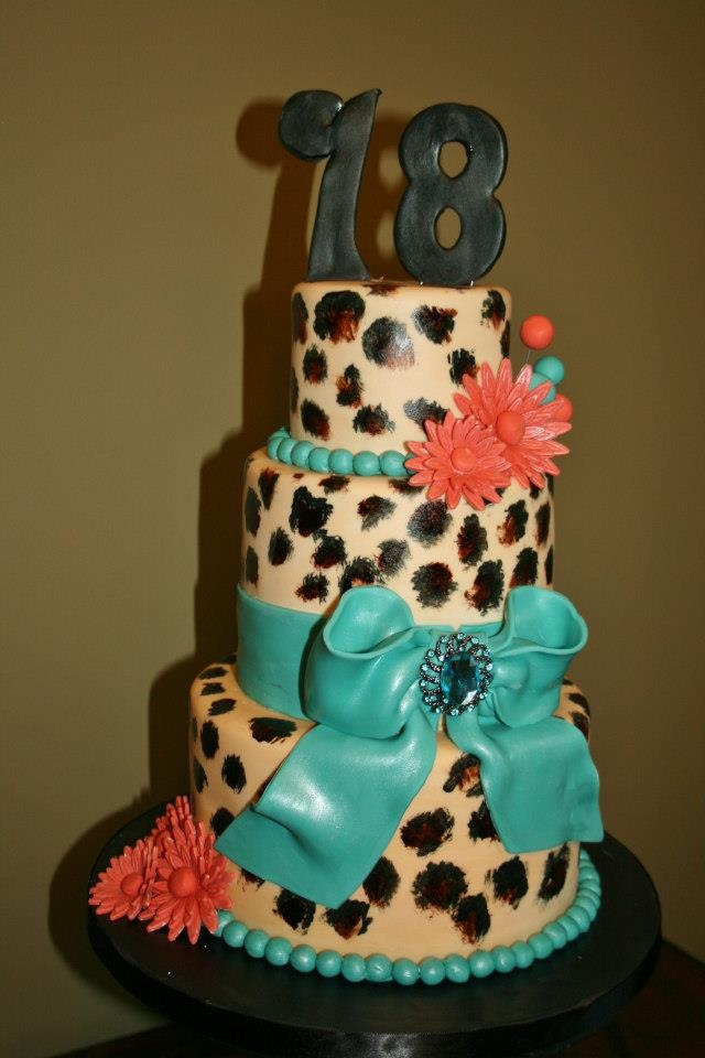 Blue and Pink Cheetah Print Cakes
