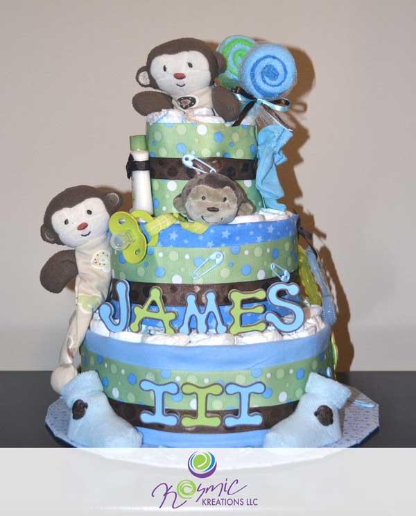 Boy Monkey Diaper Cake