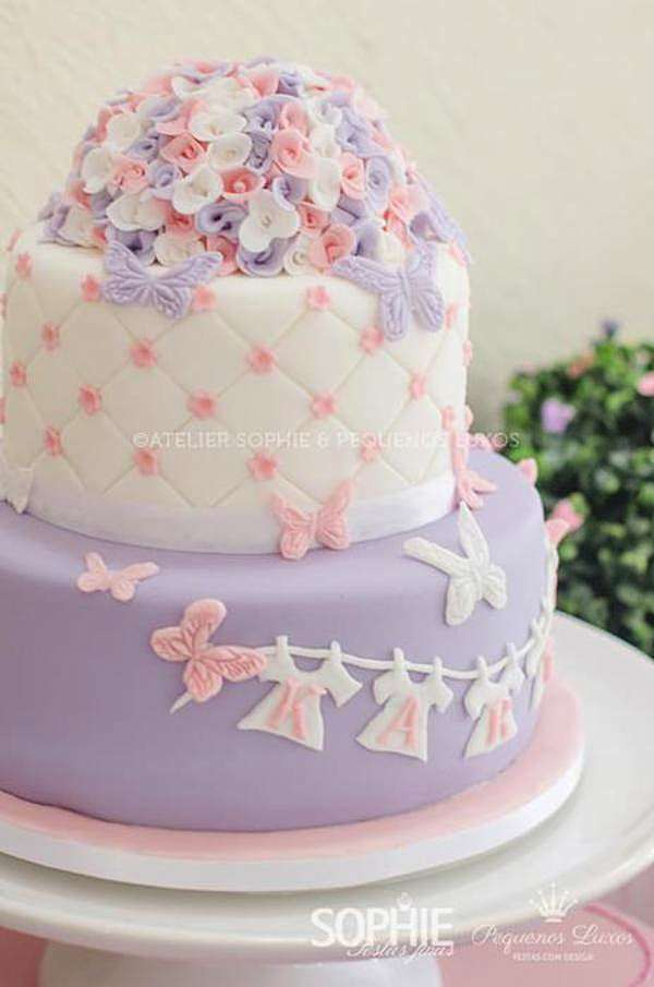 12 Photos of Butterfly Themed Baby Shower Cakes Three Layers