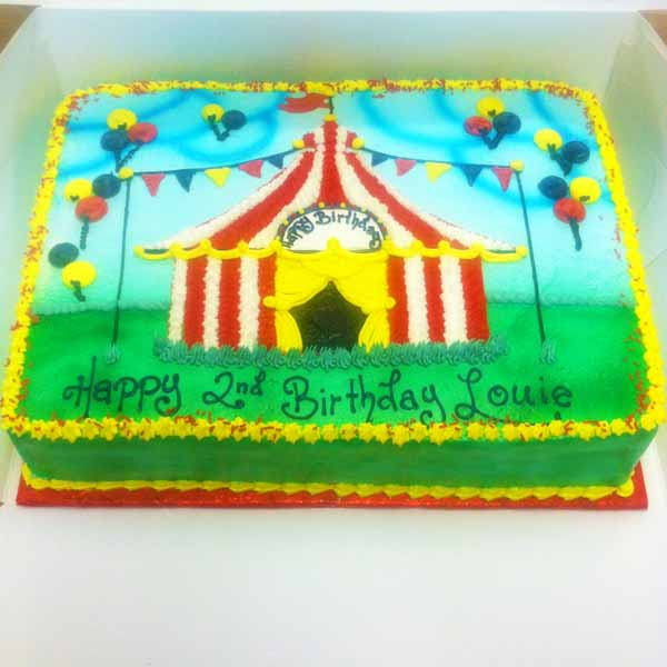 Circus Theme Birthday Sheet Cake