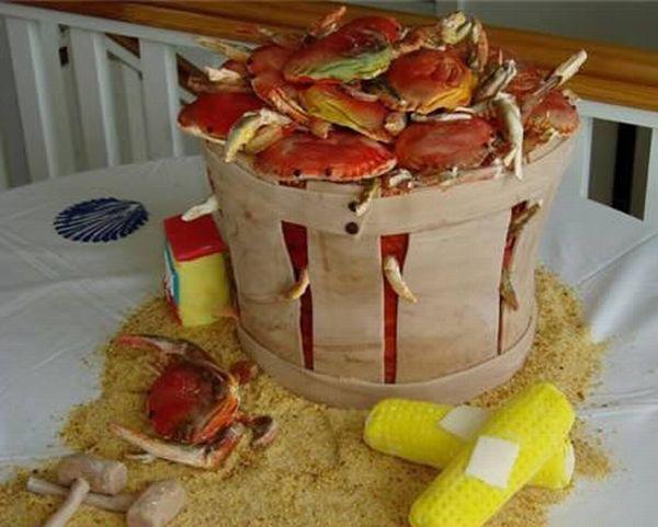 Crab Basket Wedding Cake