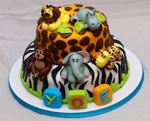 Fondant Jungle Animals Cake