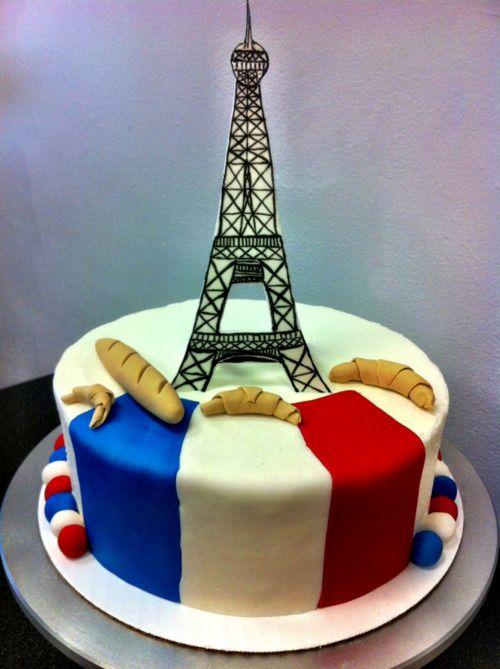 French Flag Birthday Cake