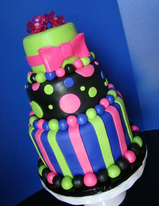 Glow Party Birthday Cake