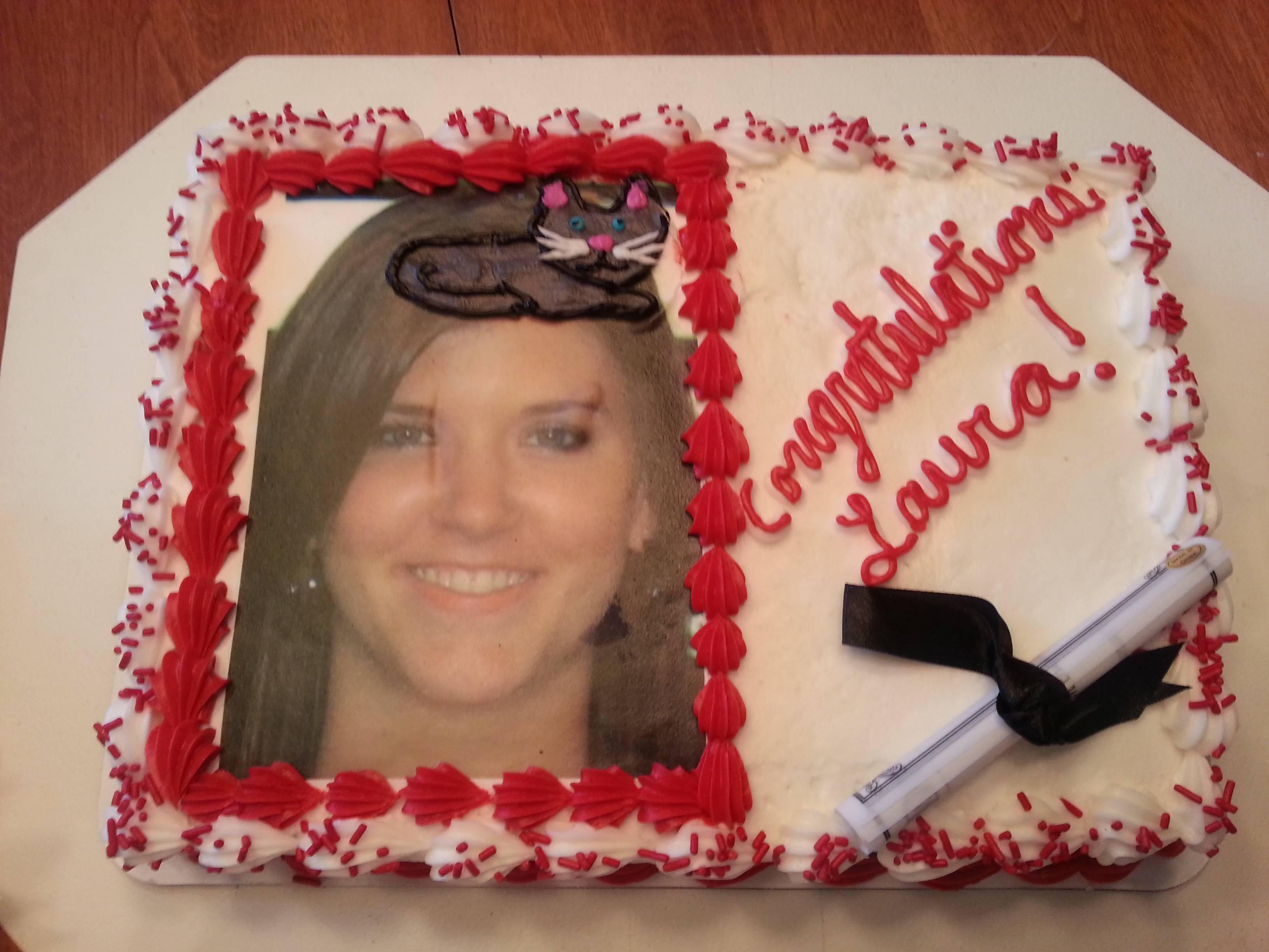 Graduation Cake with Cat On Head