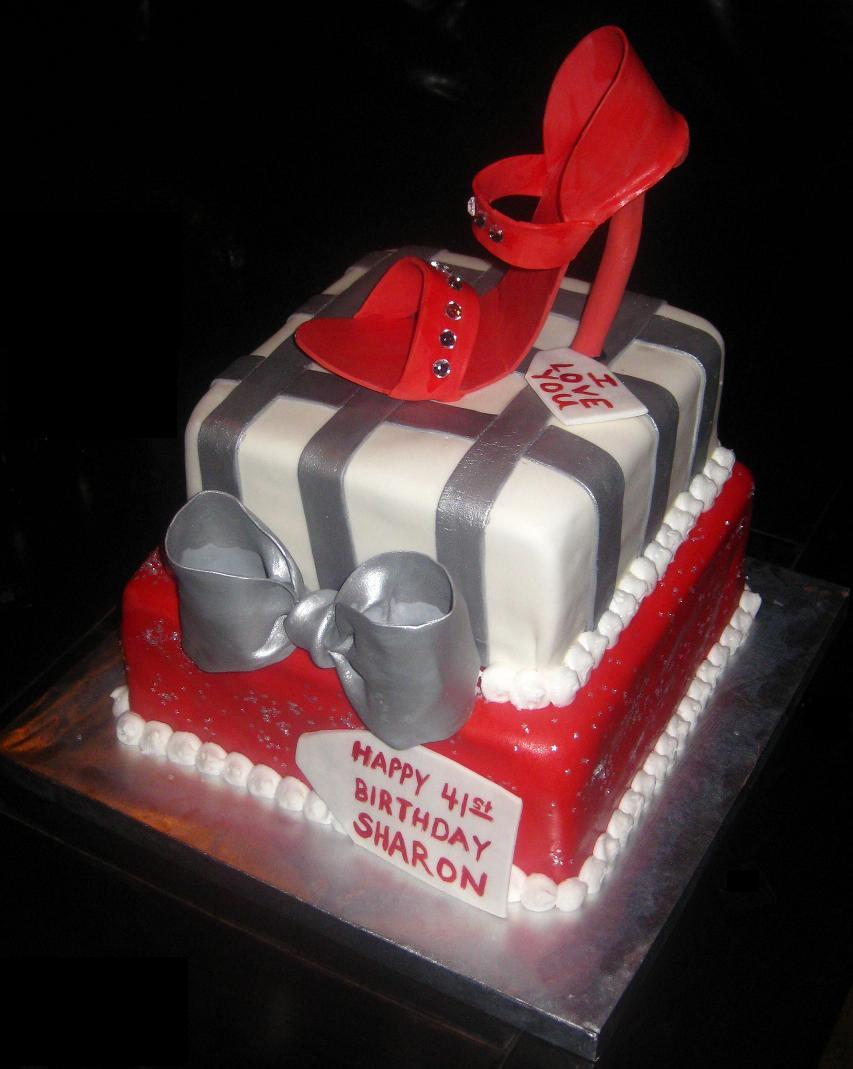 Happy Birthday Shoe Cake with Shoes