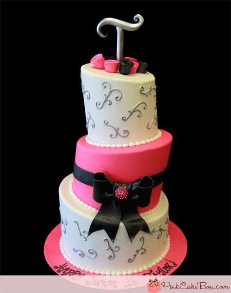 Hot Pink Topsy Turvy Sweet 16 Cake for Talyor's Sweet 16 Celebration