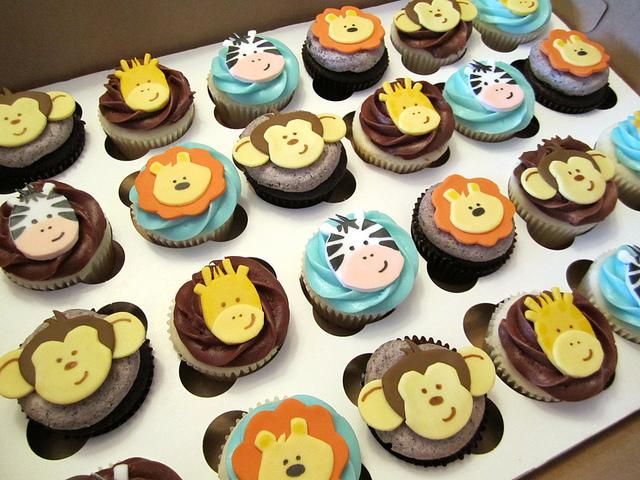 Jungle Safari Theme Baby Shower Cupcakes