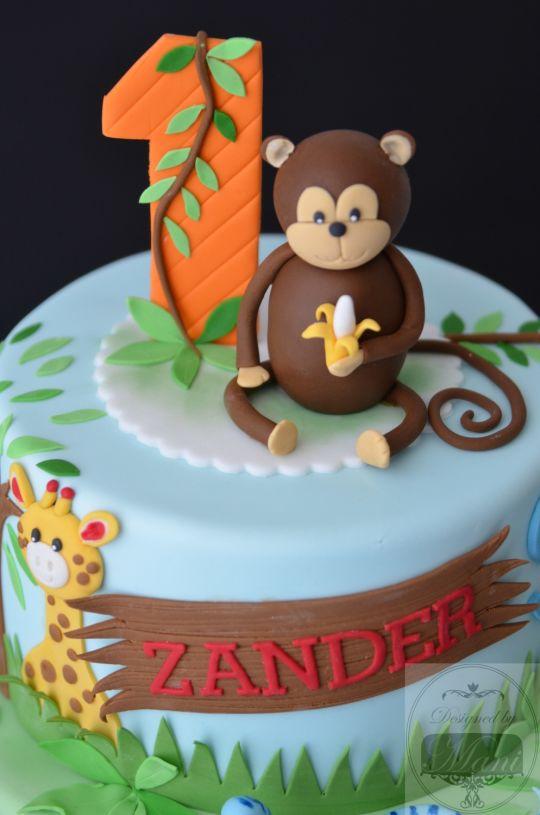 Jungle Theme 1st Birthday Cake