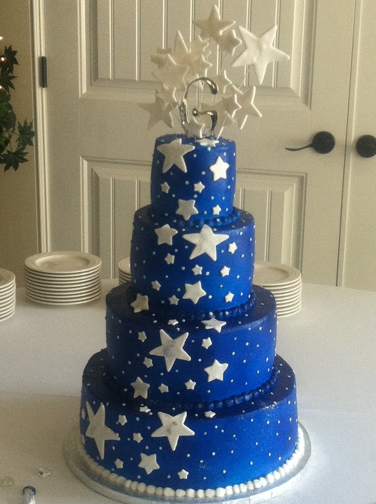 Midnight Blue Wedding Cake-I