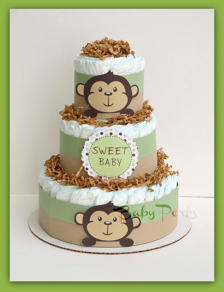 Mod Pod Monkey Baby Shower Cake