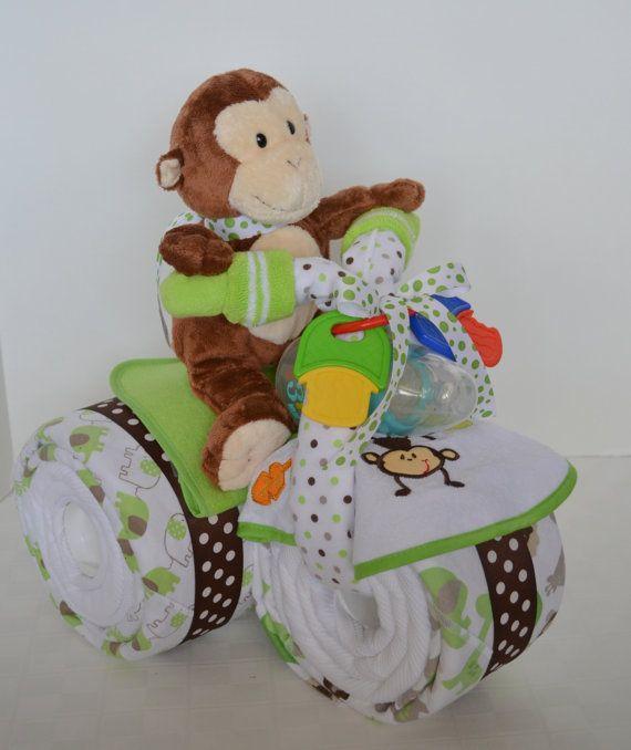 Monkey Baby Shower Motorcycle Diaper Cake