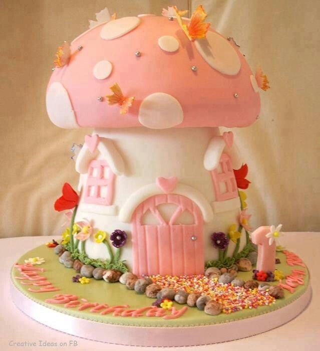 Mushroom Birthday Cake Pink