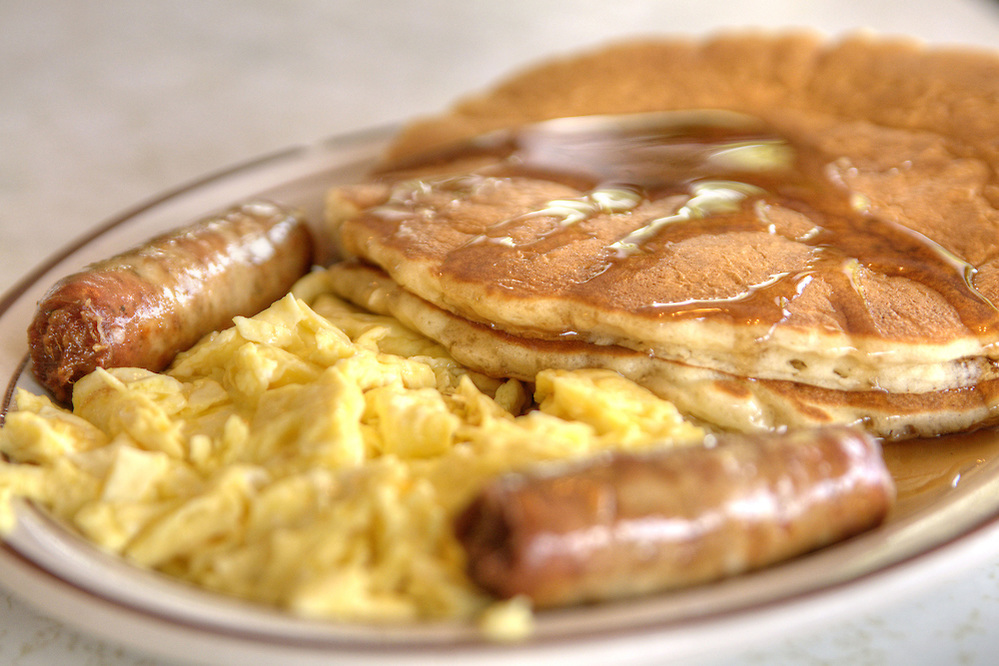 Pancake Sausage and Eggs Breakfast