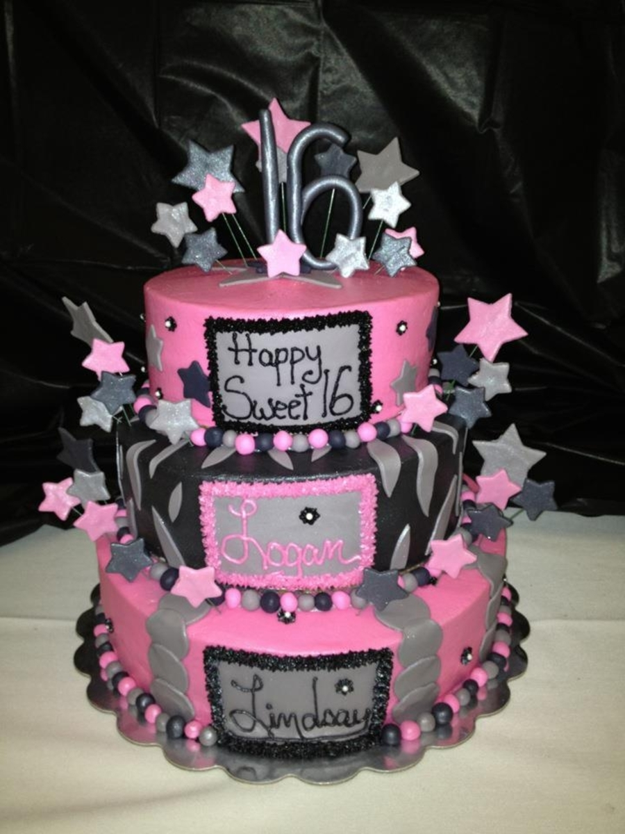 Pink and Black Sweet 16 Cake