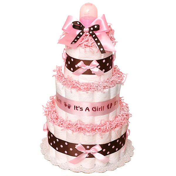 Pink and Brown Diaper Cake for Girls