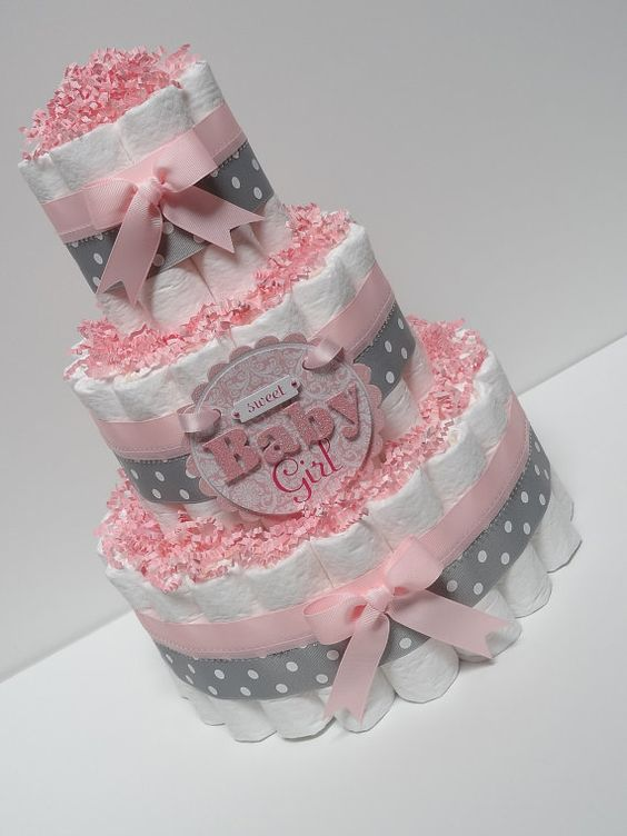 Pink and Gray Baby Girl Diaper Cake