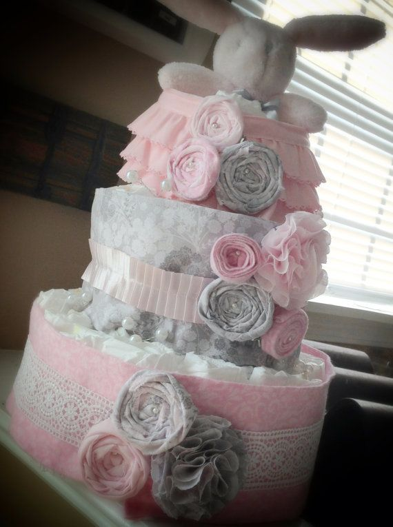 Pink and Gray Baby Shower Diaper Cake