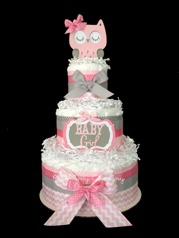Pink and Gray Chevron Owl Diaper Cake