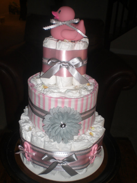 Pink and Grey Baby Diaper Cake