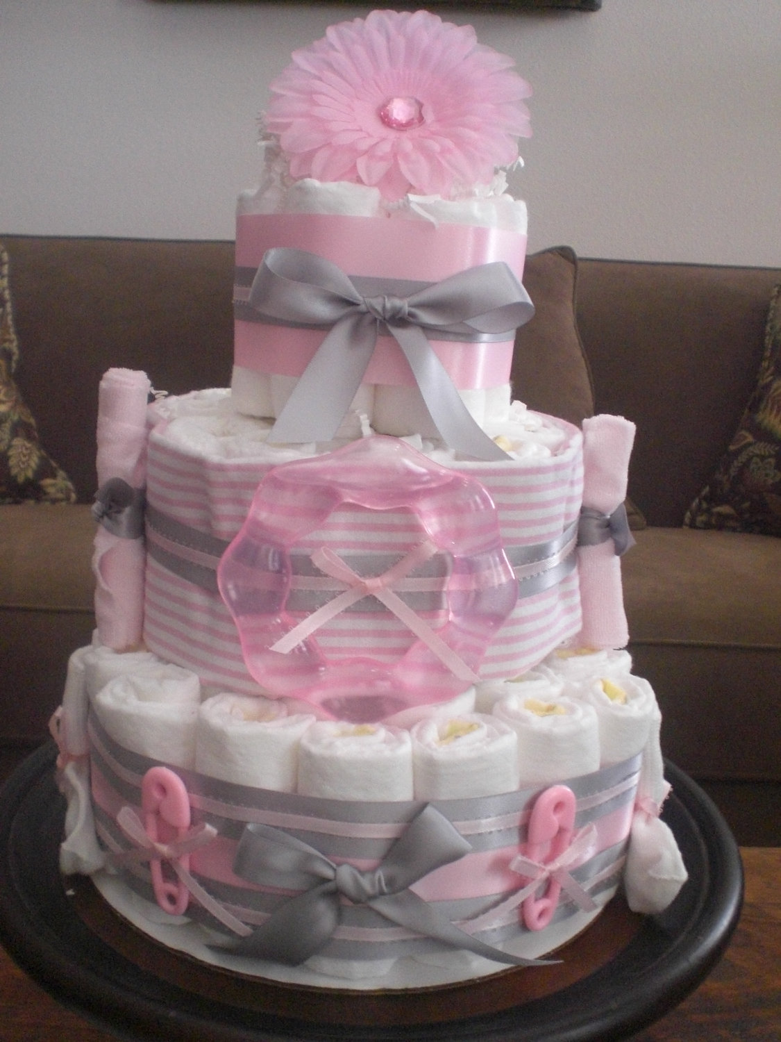 Pink and Grey Baby Shower Diaper Cake