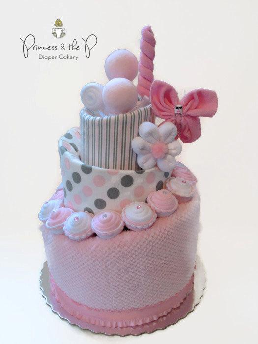 Pink and Grey Diaper Cake