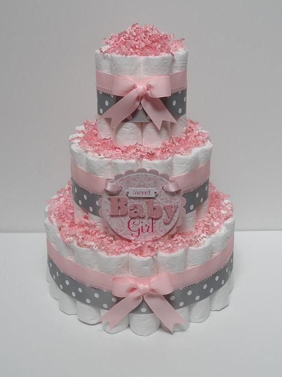 Pink Girl Baby Shower Diaper Cake