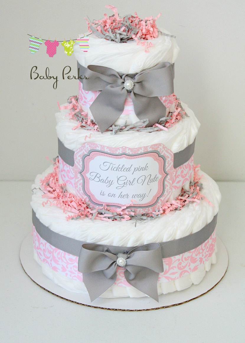 12 Photos of Gray And Pink Girl Diaper Cakes
