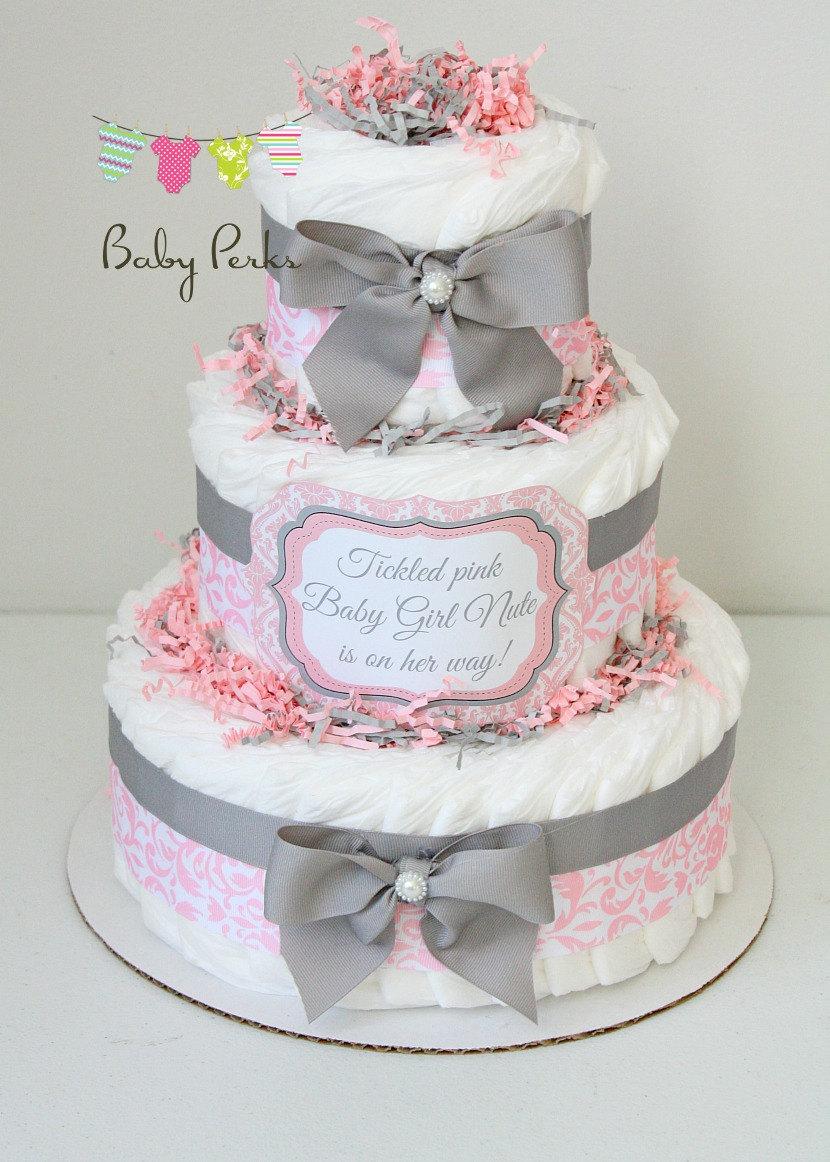 Pink & Grey Baby Shower Cake