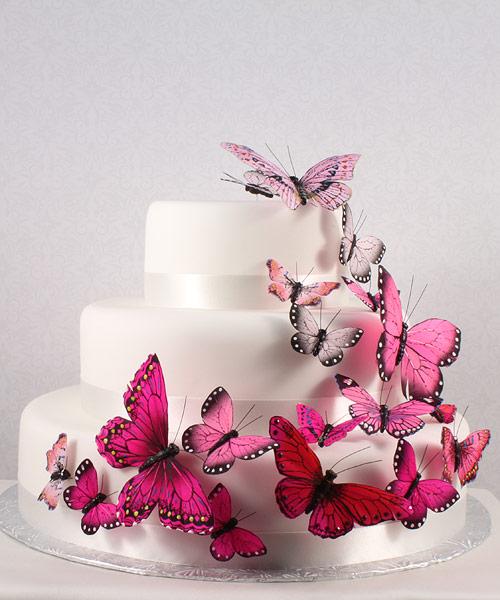 Pink Wedding Cake Decorations Butterflies