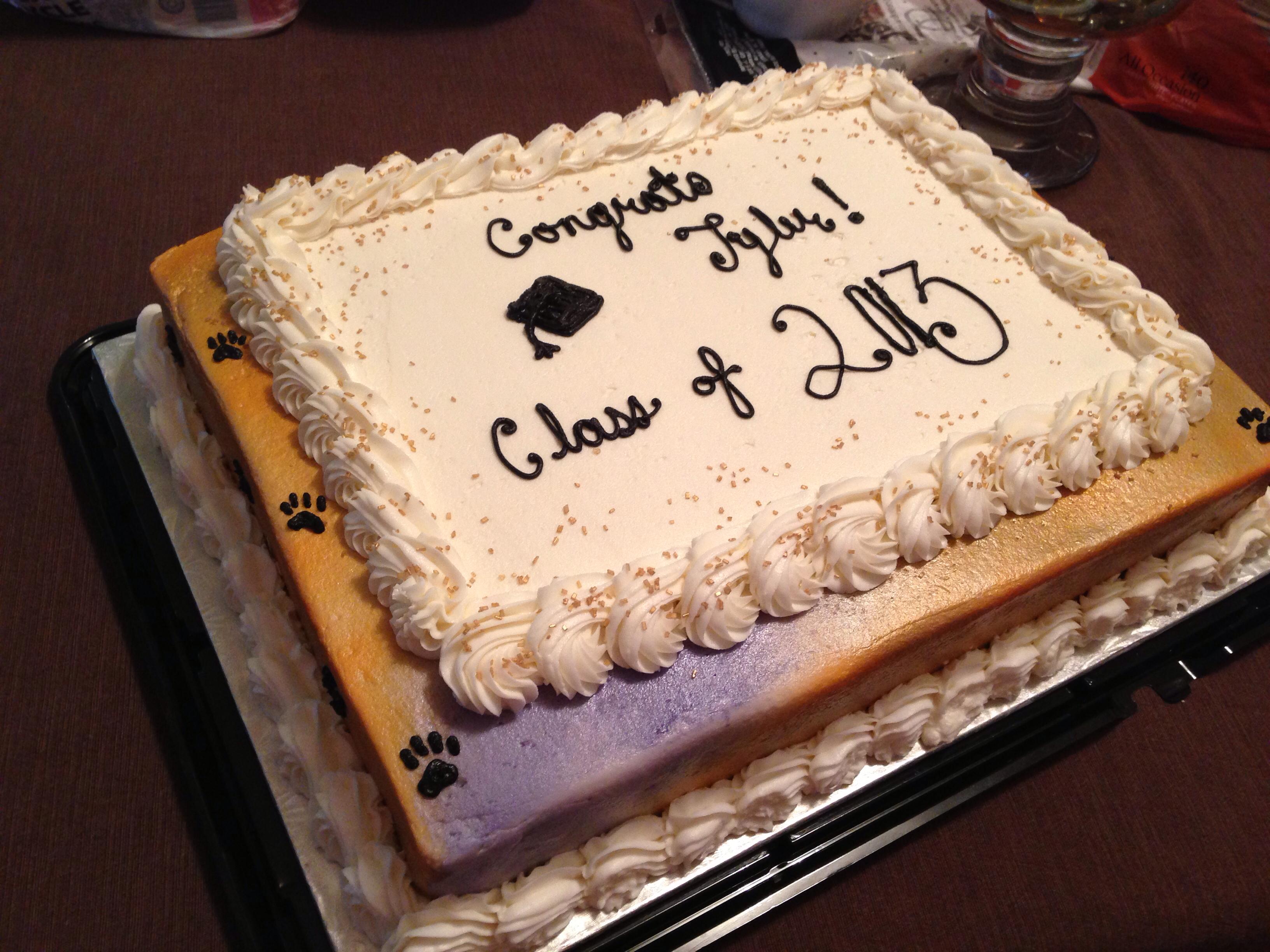 Purple and Gold Graduation Cake