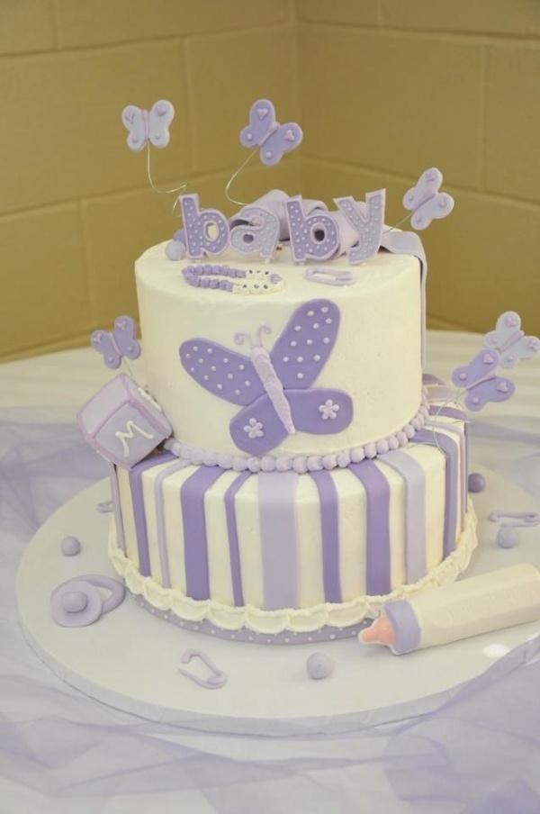 Purple Butterfly Baby Shower Cake