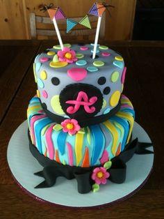 Rainbow Zebra Birthday Cake