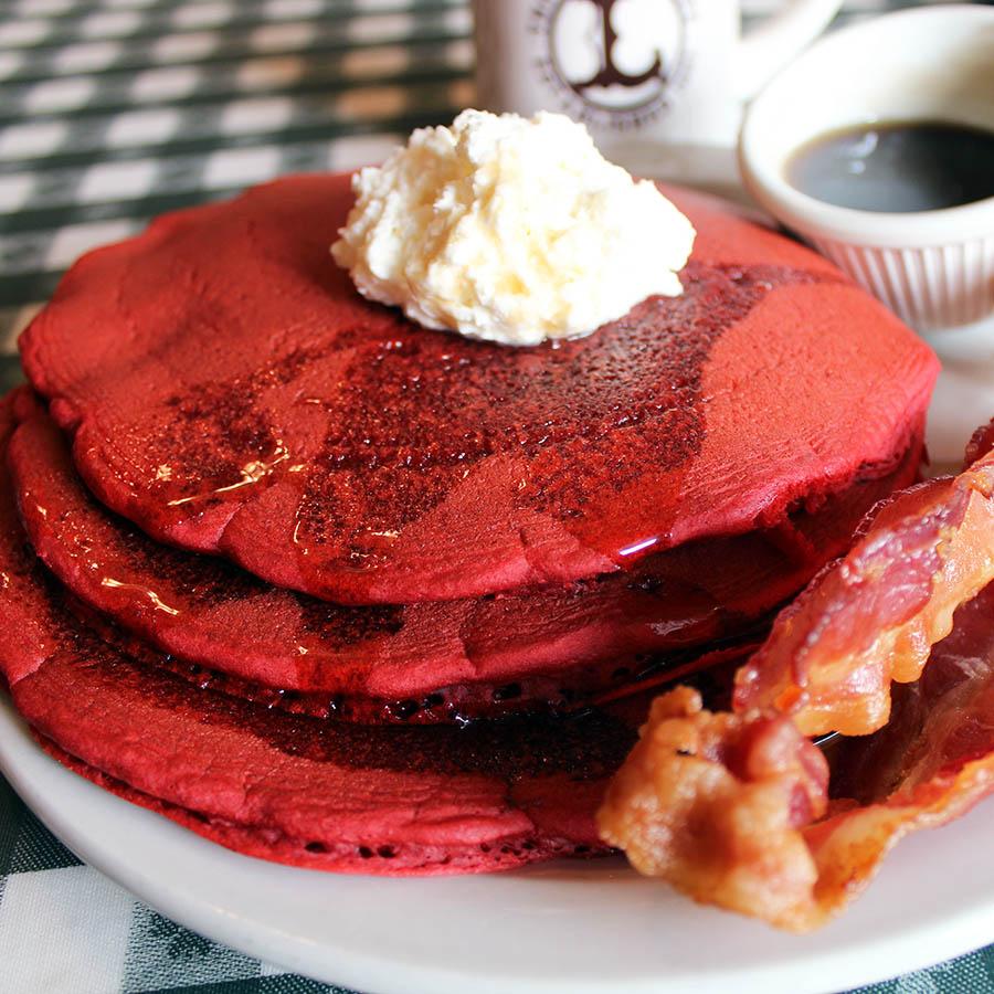 Red Velvet Pancakes with Cream Cheese