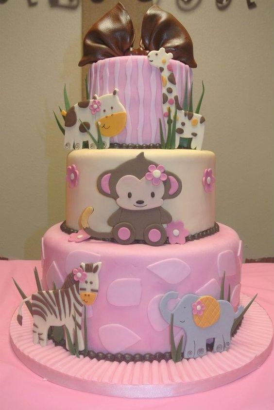 Safari Baby Shower Cake Girl