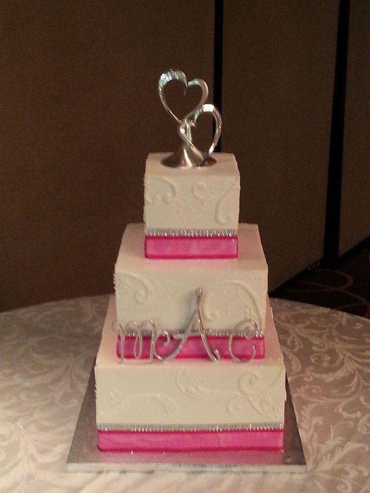 Square Wedding Cake with Pink Ribbon