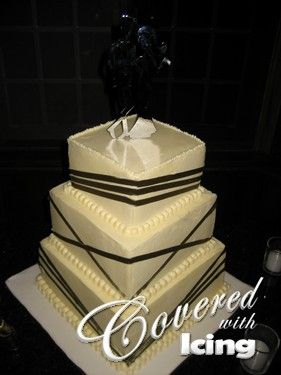Square Wedding Cake with Ribbon
