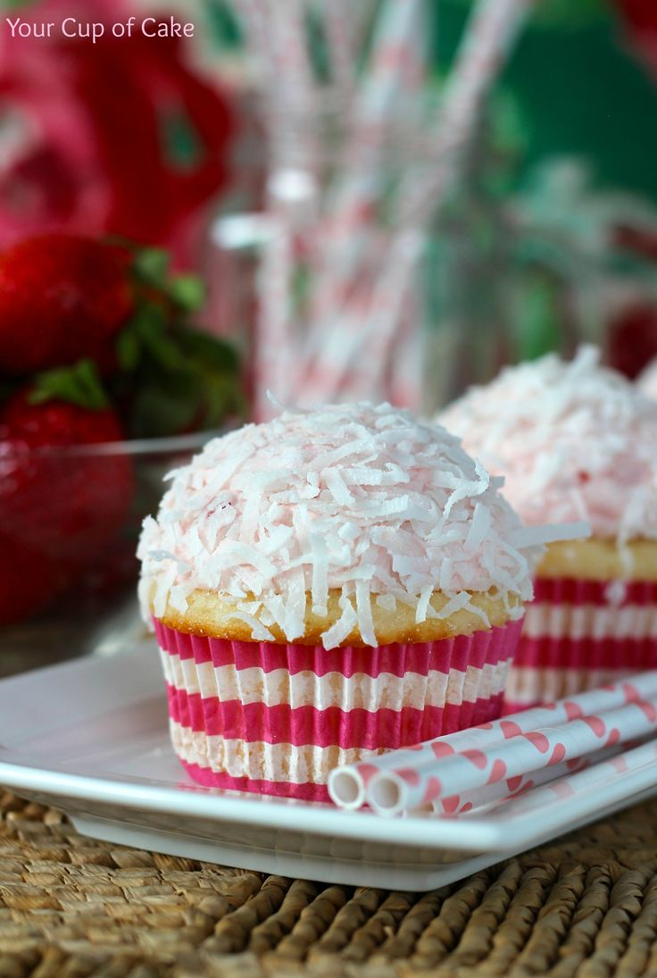 Strawberry Coconut Cupcakes