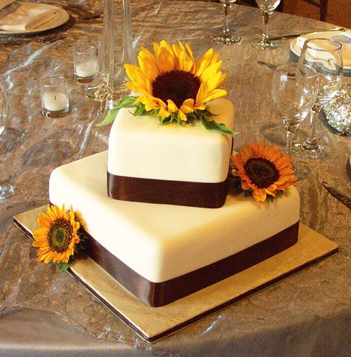 Sunflower Tier Square Wedding Cake