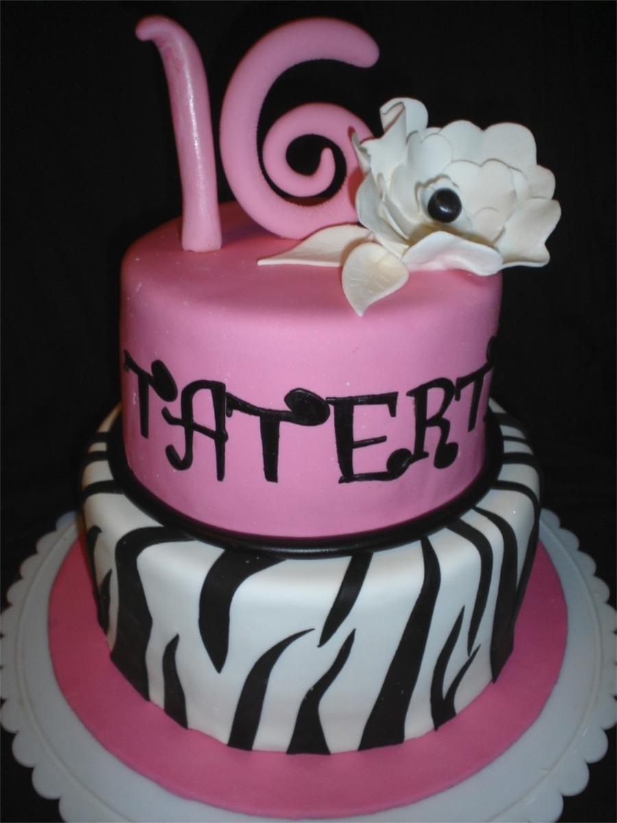 Sweet 16 Cake Pink Black and White