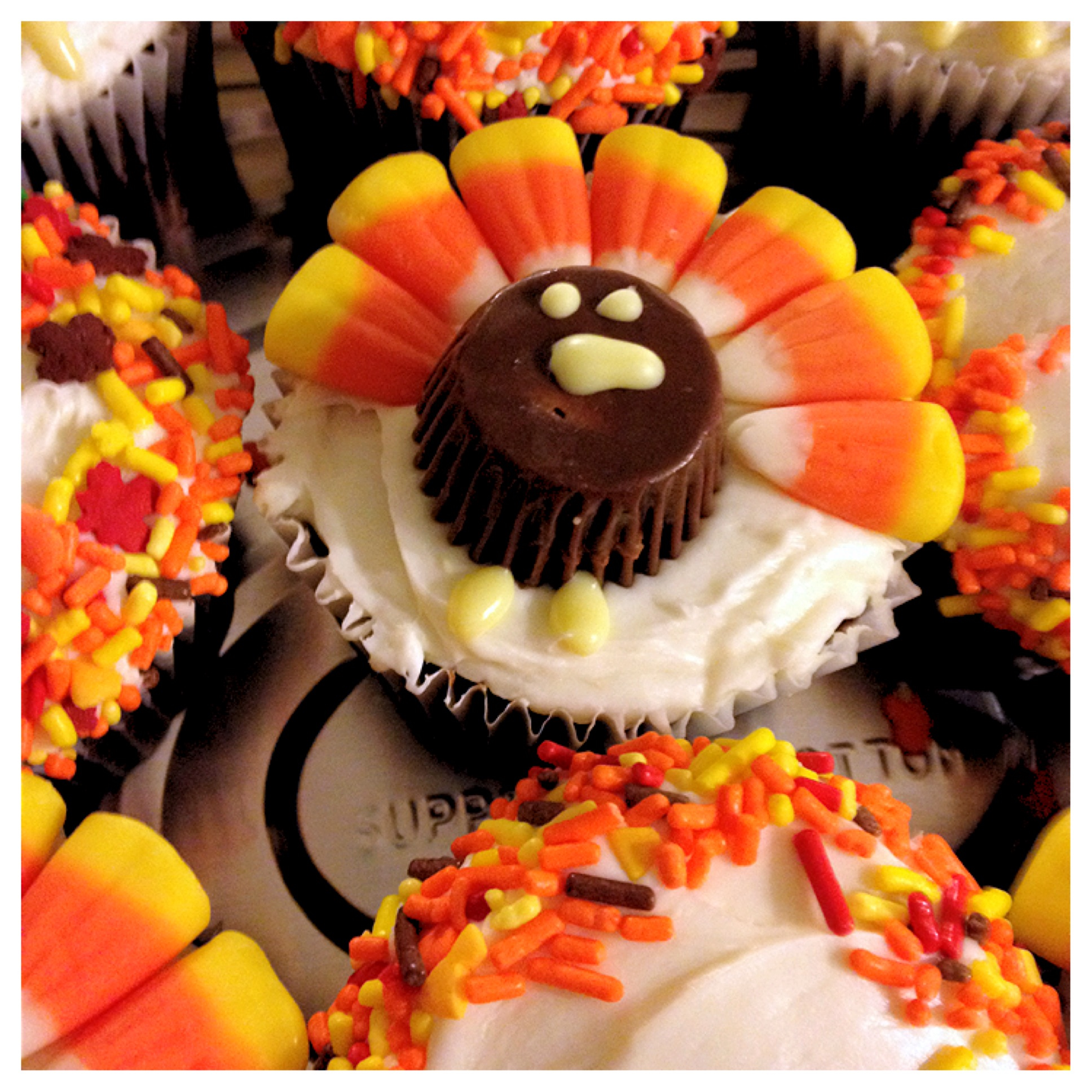 Thanksgiving Turkey Cupcakes with Candy Corn